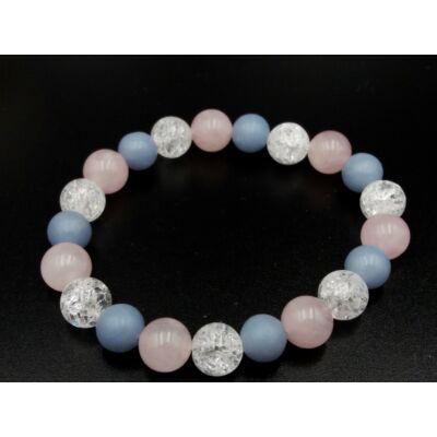 Hegyikristály-Rózsakvarc-Angelit ásvány karkötő