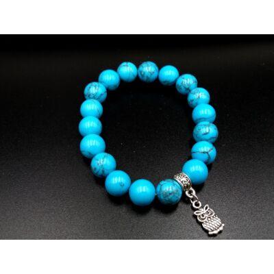 Kék howlit ásvány karkötő- bagollyal